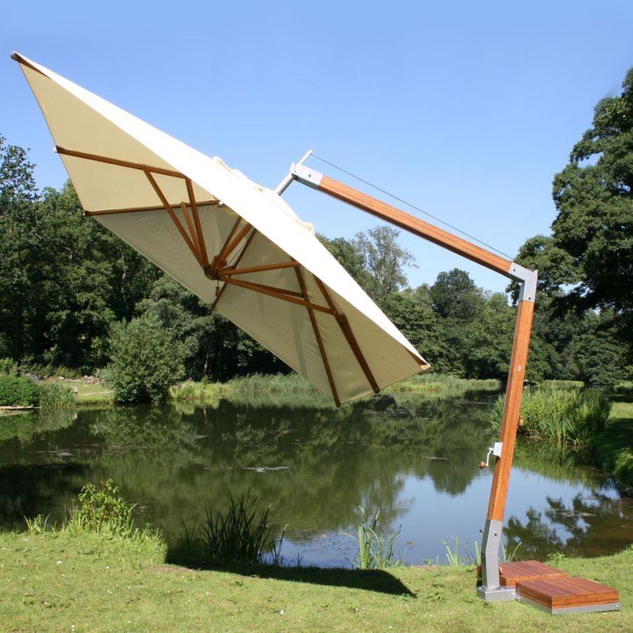 Bambus Side Wind | Ampelschirm | Set mit Bodenhülse oder Mobilständer